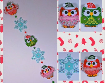 Owls and Snowflakes Christmas Garland, Christmas Tree Decoration, Handmade Decoration, Xmas Home and Holiday Decor