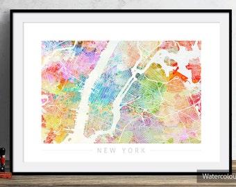 New York Map - City Street Map of New York - Art Print Watercolor Illustration Wall Art Home Decor Gift - PRINT in WHITE
