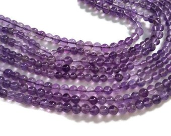 """4mm Amethyst Round Beads , Length 15"""", Natural Amethyst"""
