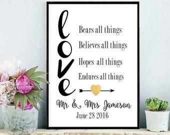 Custom Wedding gift, Love Art Print,  Printable Art, Wedding Gift, Engagement Gift, Anniversary Gift, Instant Download, Custom Print