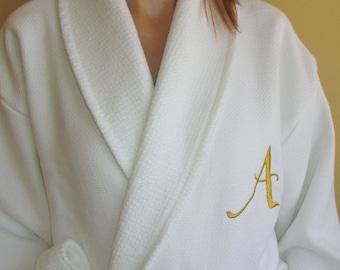 Luxury Woman Ladies Wedding Bathrobe Gold Monogram and Name Personalized Waffle / Terry White
