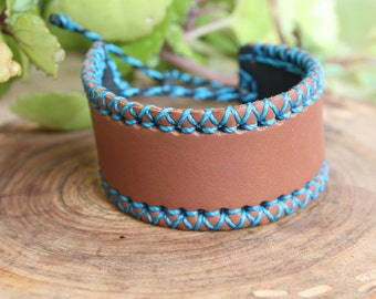 leather bracelet sewn by hand.
