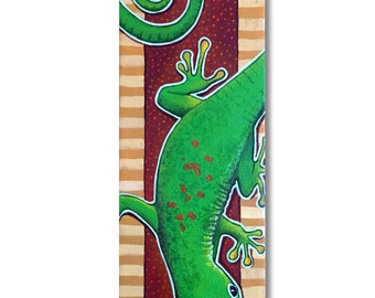 "Gecko painting on canvas, acrylic painting, 4""x12"", gallery-wrapped canvas"