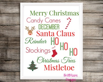Christmas Subway Art - Digital Download