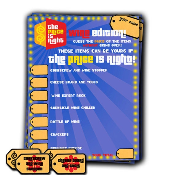 Items similar to price is right game template digital for Price is right bridal shower game template
