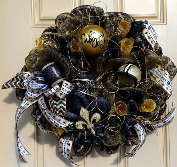 New Orleans Saints Man Cave Ideas : Nola saints sports wall decor black and gold by
