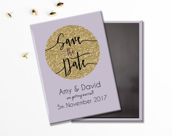 Wedding Save the Date Magnet - Purple Lilac and Gold Sparkle Glitter