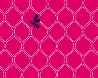 Echino Beehive pink Kokka Canvas fabric OOP