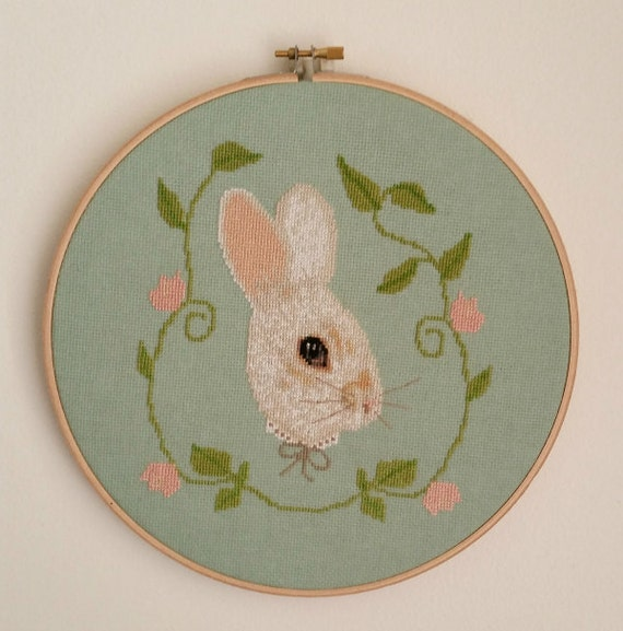Bunny Counted Cross Stitch Pattern Chart White Rabbit PDF Digital Pattern