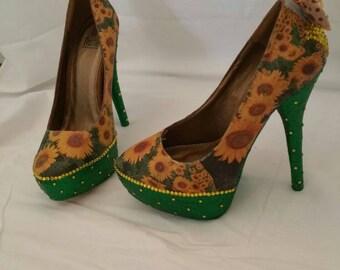 Sunflower sparkle High Heels Stilettos Wedding Shoes Bridesmaids Flower Power Cute Yellow and Green Bows Diamantés hippy