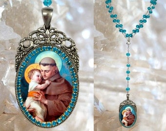 Rosary of Saint Anthony of Padua Handmade Catholic Christian Religious Jewelry Medal Pendant