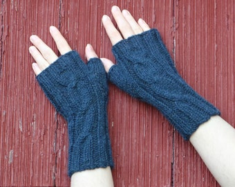 dark blue alpaca fingerless gloves, texting gloves, knit cabled gloves, knitted wrist warmer alpaca hand made in usa /Ready to Ship