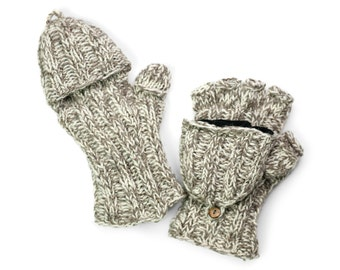Wool Convertible Mittens, Texting Gloves, Hand Knit Glittens - Taupe & Cream - 1591Y