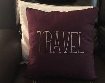 traveler quote, maroon pillow, adventure decor, travel decor, adventure pillow, decorative couch pillow,pillow for traveler