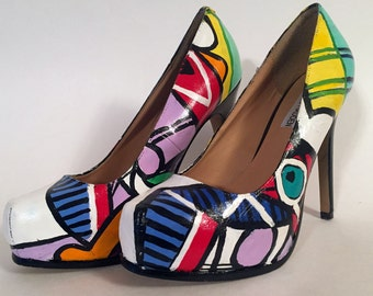 Hand Painted Pumps - Picasso High Heels
