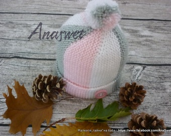 Hand knitted baby hat, knitted baby hat, girls hat