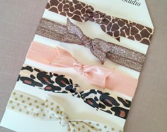5 Collection Elastic Hair Ties or Headbands, Giraffe and Leopard Print Fold Over Elastic Hair Ties, Ponytail Hair Ties