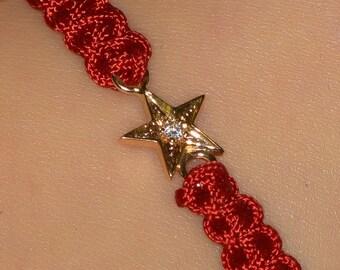 Diamond star macrame bracelet