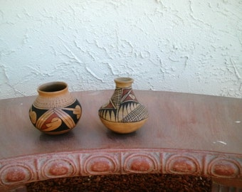 Vintage  Mata Ortiz  sofia de Tena Signed Clay Polychrome Authentic Native American Vase and Bowl