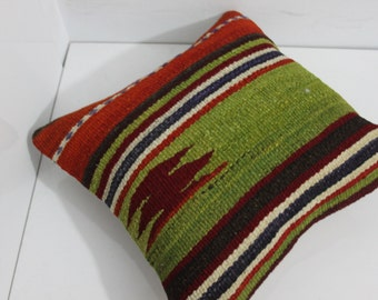 handwoven kilim pillow,vintage turkish kilim pillow cushion cover 16x16