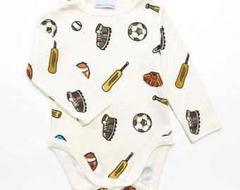 Baby boy's sports print babygrow/bodysuit, cricket, baseball, football print sized from 0 months upto 12 months