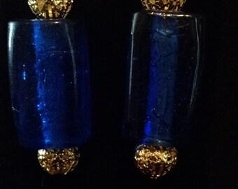 Blue shimmering earrings