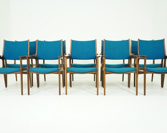 305-030 Danish Mid Century Modern Teak Office Boardroom Armchairs (10)