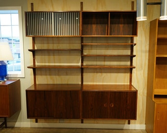 D088 Danish Mid Century Modern Rosewood Wall System Bookcase