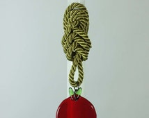 """18"""" Easter Greek Candle Lambada Decorated with a Handmade Glass Pomegranate and a Knot"""