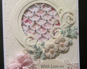 Handmade 3D greeting card for weddings,anniversary,birthday and engagement