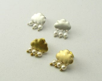 Tiny Rain Cloud and Pearls Drop Earrings Studs / Gold or Silver Cloud Earrings/ Rain Earrings / Pearl Earrings / Gift for Her