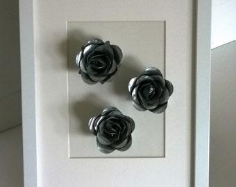 Framed Metal Roses Picture