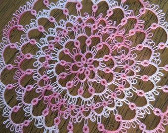 Variegated Pink Tatted Doily