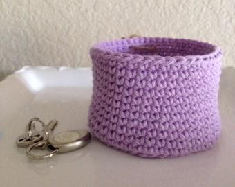 Crochet round basket.
