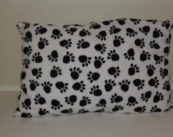 White and Black Paw Print Pillow