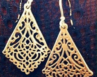 Diamond Shaped Drop Earrings, Indian Earrings