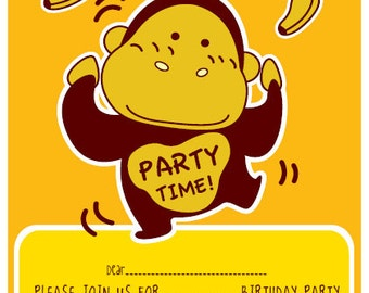 He's a Monkey Printable Invitation