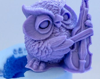 Owl playing a Violin Silicone Mould