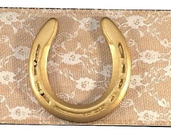 Gold Horseshoe Lace Burlap Sign - Horseshoe Art - Horseshoe Decor - Custom Colors - Horse Shoe Art - Gold Painted Horseshoe