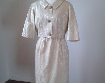 SALE!!  30% off. VINTAGE 2pce Suit Dress, 1950's Brocade Creme,Large Buttons. Use Coupon Code LOVESALE.