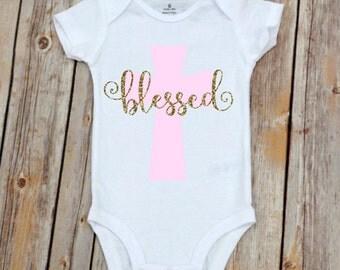 Baptism Onesie, Blessed Onesie, Cross Onesie,  Baby Girl Baptism, Baptism Outfit, Boy Baptism, Girl Baptism, Baptism Gift, Baby Baptism