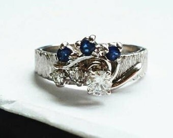Unique Sapphire and Diamond 14K White Gold Engagement Statement Wedding Ring