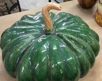 Vintage Green Terracotta Pumpkin