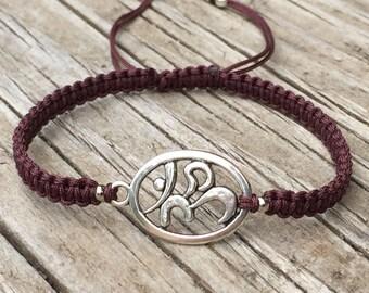 Ohm Yoga Bracelet, Ohm Yoga Anklet, Adjustable Cord Macrame Friendship Bracelet, Inspiration Bracelet, Yoga Bracelet, Spiritual Bracelet