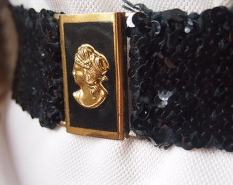 Vintage 1960's black sequence cameo belt