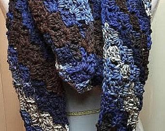 Crochet Scarf, Infinity Scarf, Chunky Scarf, Blue Scarf, Striped Scarf, Winter Scarf, Knit Scarf, Scarf, Circle Scarf, Blue Infinity Scarf