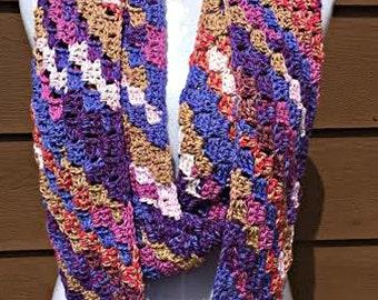 Purple Crochet Scarf, Purple Infinity Scarf, Multi Color Scarf, Purple Knit Scarf, Long Purple Scarf, Blue Crochet Scarf, Blue Scarf