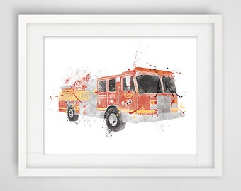 Illustration fire truck, drawing firefighters, fdny, firefighter New York poster art, FDNY poster
