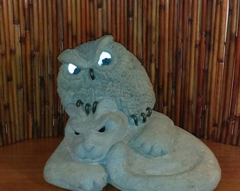 Lou Rankin Art Cement Sculpture Vintage 1971, RARE, Owl on Cat. Cement, stone statuary. Awesome work of art, very hard to find Rankin Art.