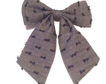 Baby Girl Bow, Chambray Dotty Bow, Chambray Baby Bow, Baby Accessory, Baby Bow, Baby Gift, Blue Bow, Chambray Dotty Harlow Bow